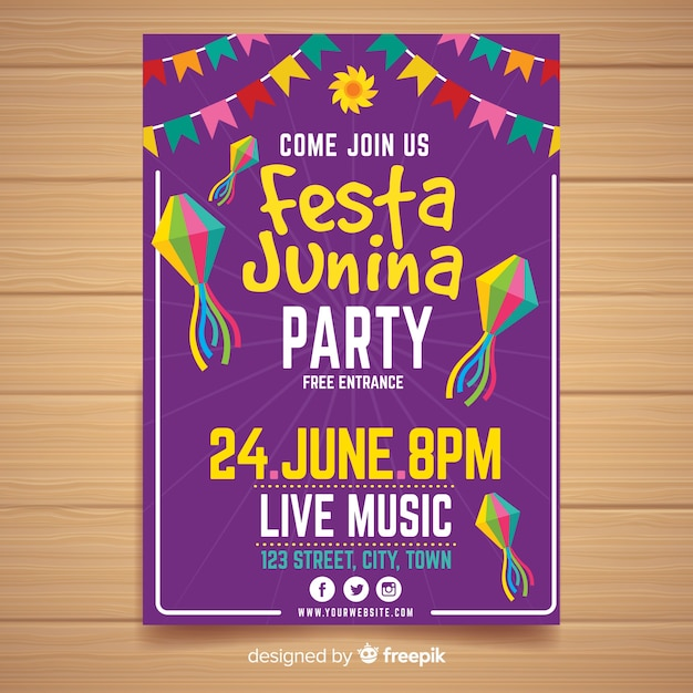 Modelo de cartaz de festa plana junina Vetor grátis