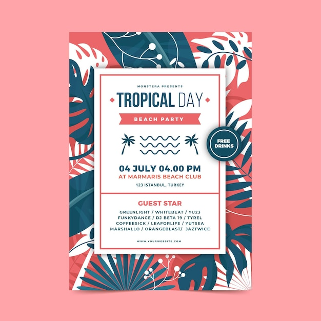 Modelo de cartaz de festa tropical Vetor grátis