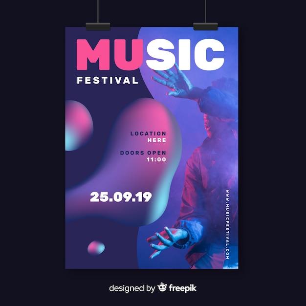 Modelo de cartaz de festival de música com foto Vetor grátis