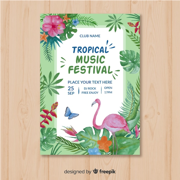 Modelo de cartaz de festival de música em aquarela Vetor grátis