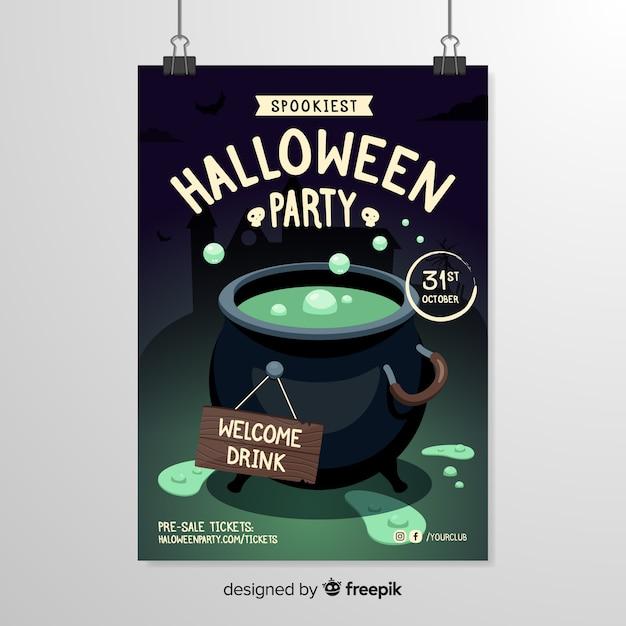 Modelo de cartaz de halloween de caldeirão Vetor grátis