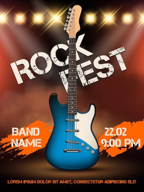 Modelo de cartaz de ilustração realista de guitarra de música rock. evento de rock de ilustração musical, festival de guitarra musical Vetor Premium