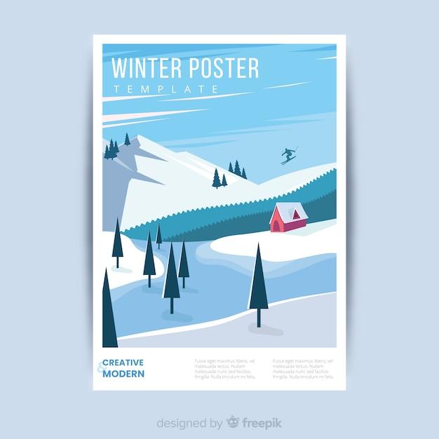 Modelo de cartaz de inverno desenhada de mão Vetor grátis
