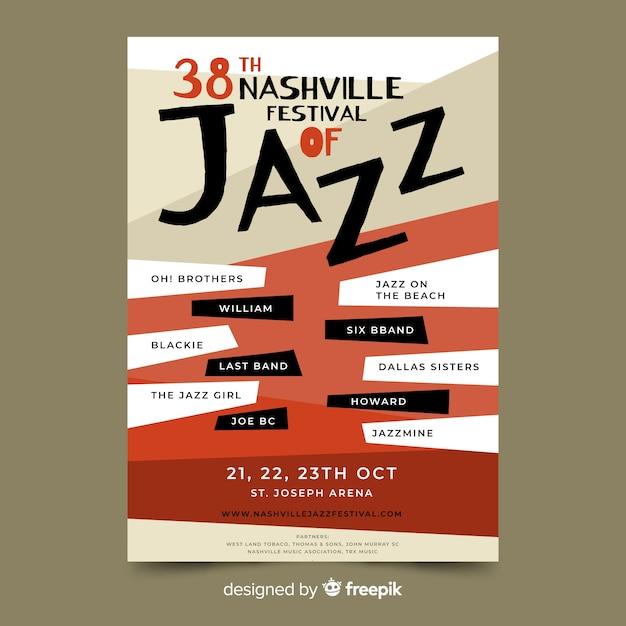 Modelo de cartaz de jazz desenhado mão abstrata Vetor grátis