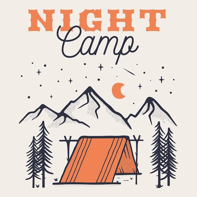 Modelo de cartaz de logotipo de acampamento à noite, emblema de aventura de montanha retrô com montanhas, barraca. Vetor Premium