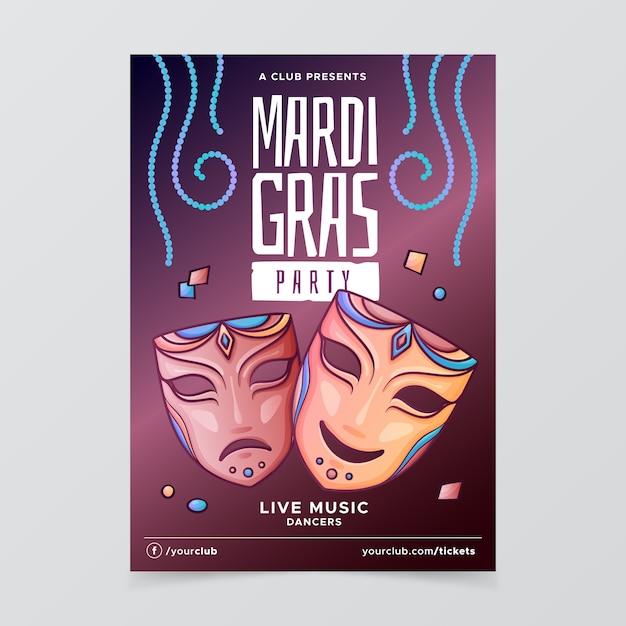 Modelo de cartaz de mão desenhada mardi gras Vetor grátis