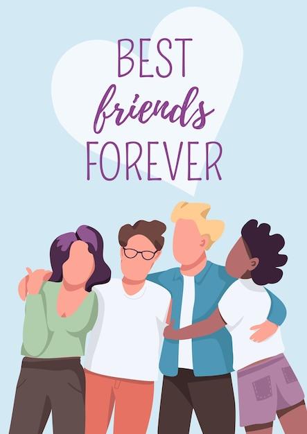 Modelo de cartaz de melhores amigos para sempre. amizade e união. dinâmica de grupo. brochura, livreto de uma página com personagens de desenhos animados. folheto de comunidade multicultural, folheto Vetor Premium