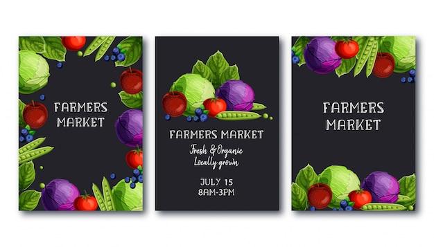 Modelo de cartaz de mercado de agricultores conjunto com legumes frescos e frutas e texto Vetor Premium
