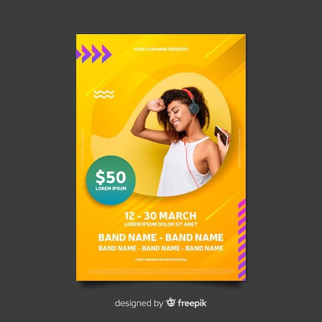 Modelo de cartaz de música colorido abstrato com foto Vetor grátis