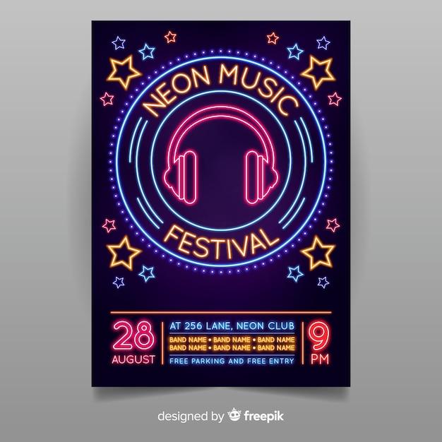 Modelo de cartaz de música de luz néon Vetor grátis