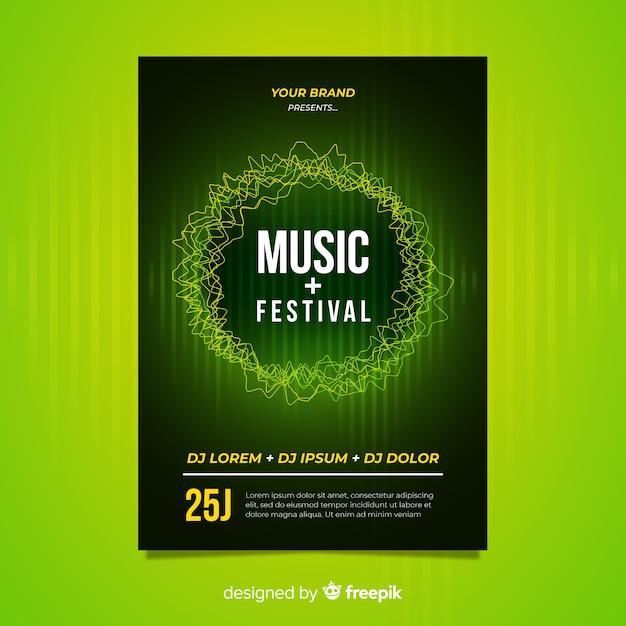 Modelo de cartaz de música de onda sonora Vetor grátis
