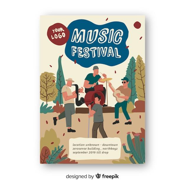 Modelo de cartaz de música desenhada mão Vetor grátis
