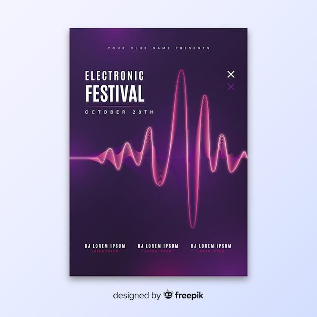 Modelo de cartaz de música eletrônica de onda abstrata Vetor grátis
