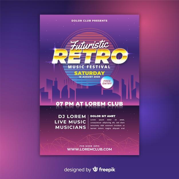 Modelo de cartaz de música futurista retrô colorido Vetor grátis