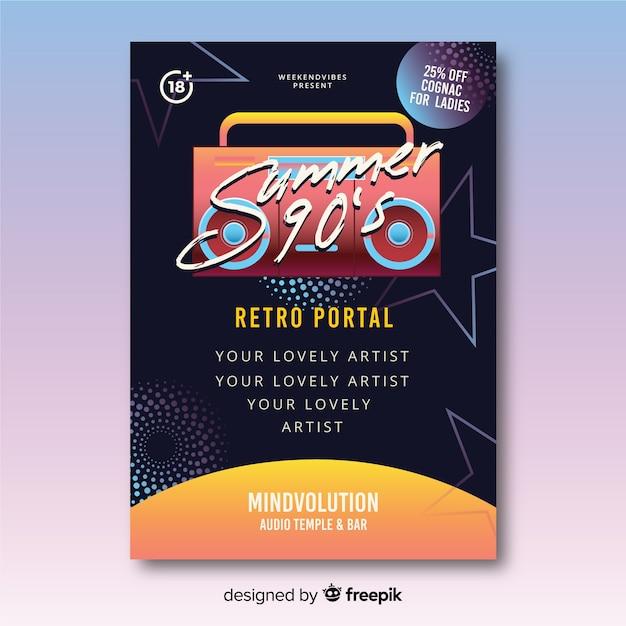 Modelo de cartaz de música futurista retrô Vetor grátis