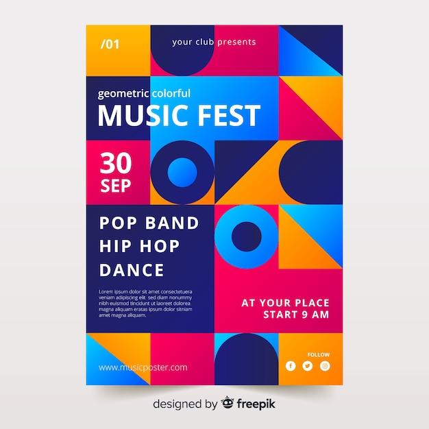 Modelo de cartaz de música geométrica colorida Vetor grátis