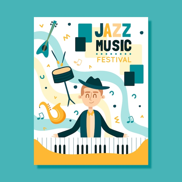 Modelo de cartaz de música ilustrado conceito Vetor grátis