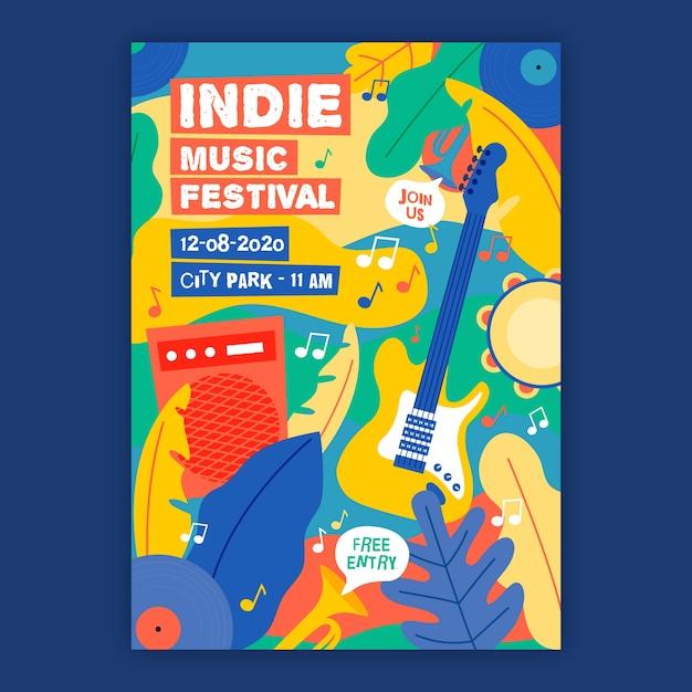 Modelo de cartaz de música indie Vetor grátis