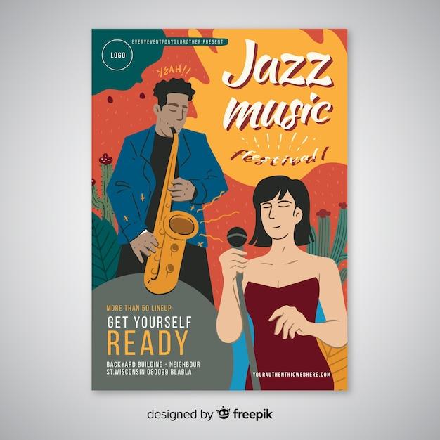 Modelo de cartaz de música jazz abstrata mão desenhada Vetor grátis