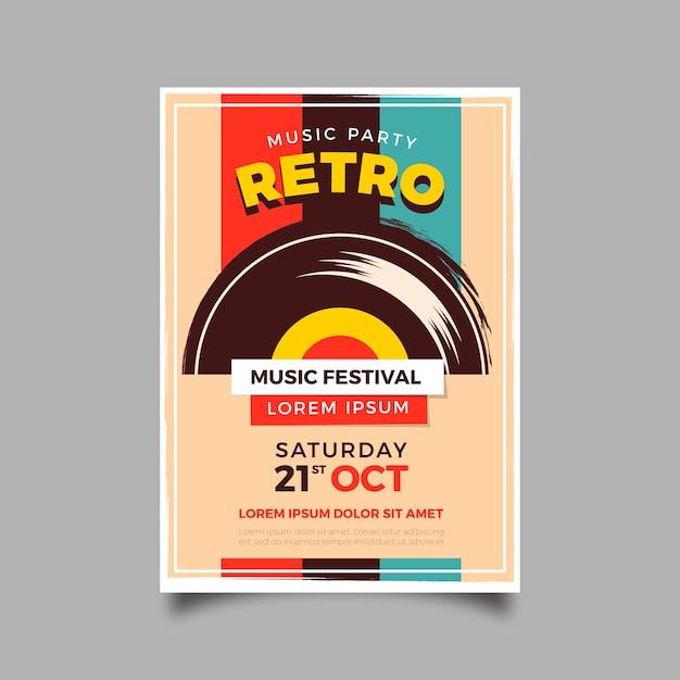 Modelo de cartaz de música retrô Vetor Premium