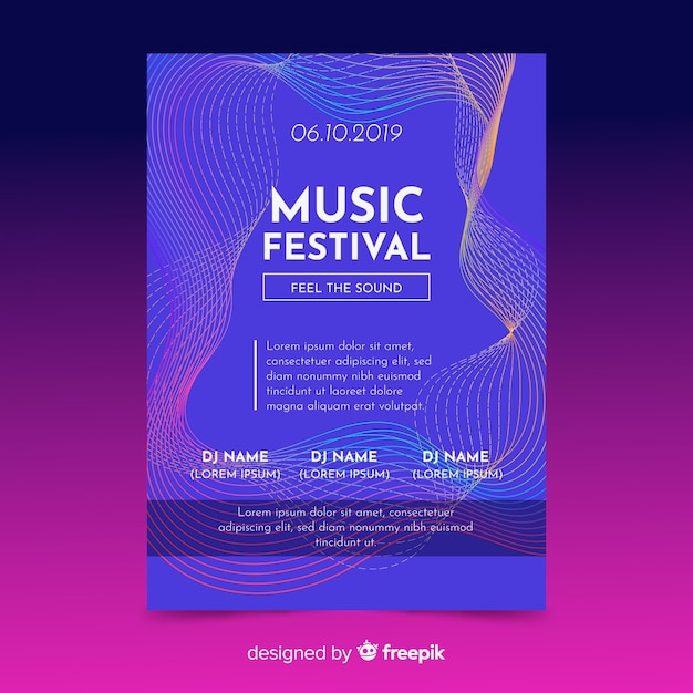 Modelo de cartaz de música Vetor grátis