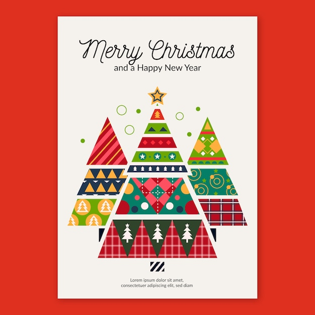 Modelo de cartaz de natal com formas geométricas Vetor grátis