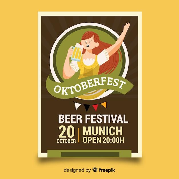 Modelo de cartaz de oktoberfest de design plano Vetor grátis