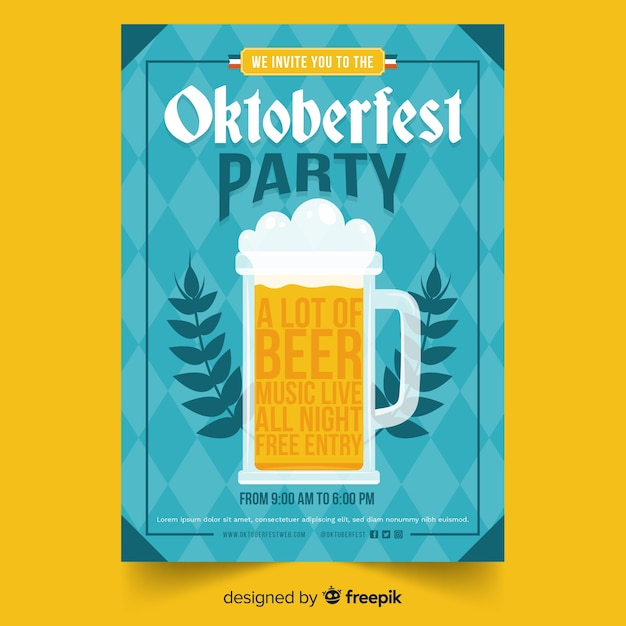 Modelo de cartaz de oktoberfest design plano Vetor grátis