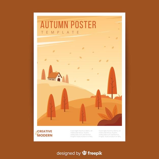 Modelo de cartaz de outono desenhada de mão Vetor grátis