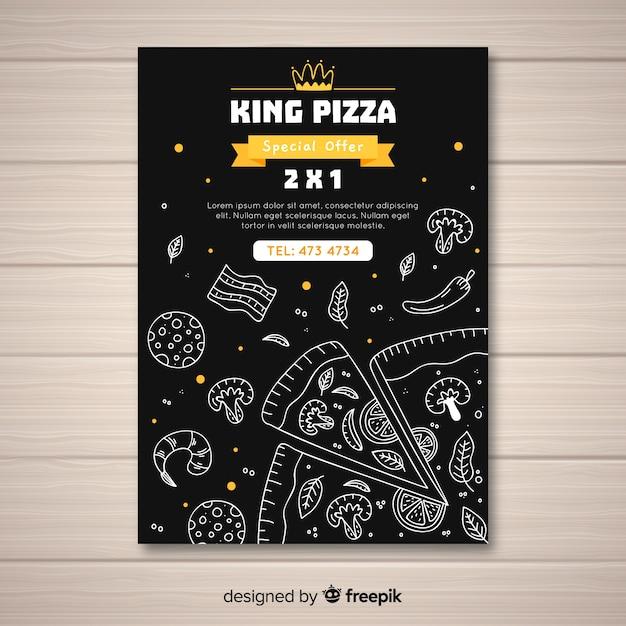 Modelo de cartaz de pizza desenhada de mão Vetor grátis