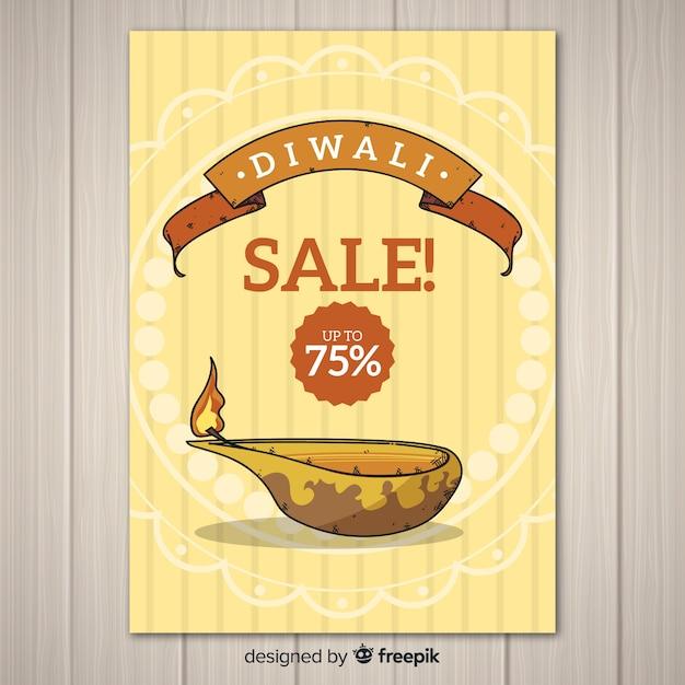 Modelo de cartaz de venda de diwali Vetor grátis