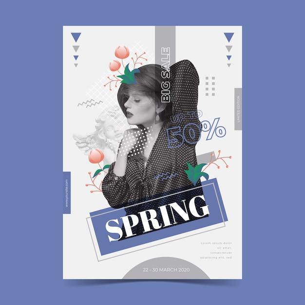 Modelo de cartaz de venda primavera em fundo azul Vetor grátis