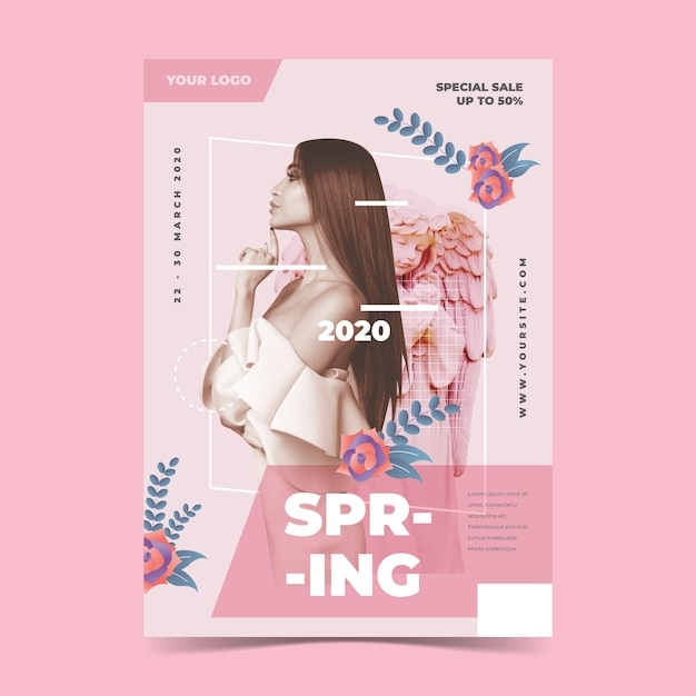 Modelo de cartaz de venda primavera sobre fundo rosa claro Vetor grátis