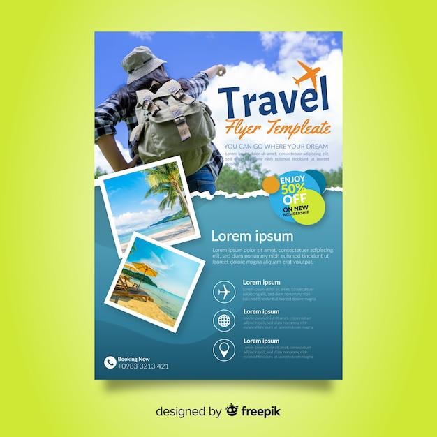 Modelo de cartaz de viagens com foto Vetor Premium