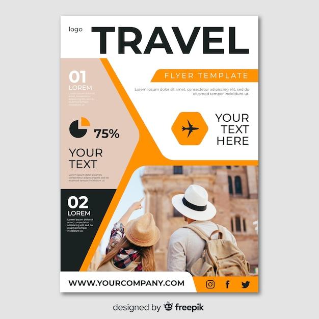 Modelo de cartaz de viagens com foto Vetor grátis