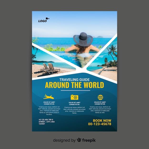 Modelo de cartaz de viagens com imagem Vetor grátis