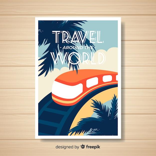 Modelo de cartaz de viagens vintage plana Vetor grátis