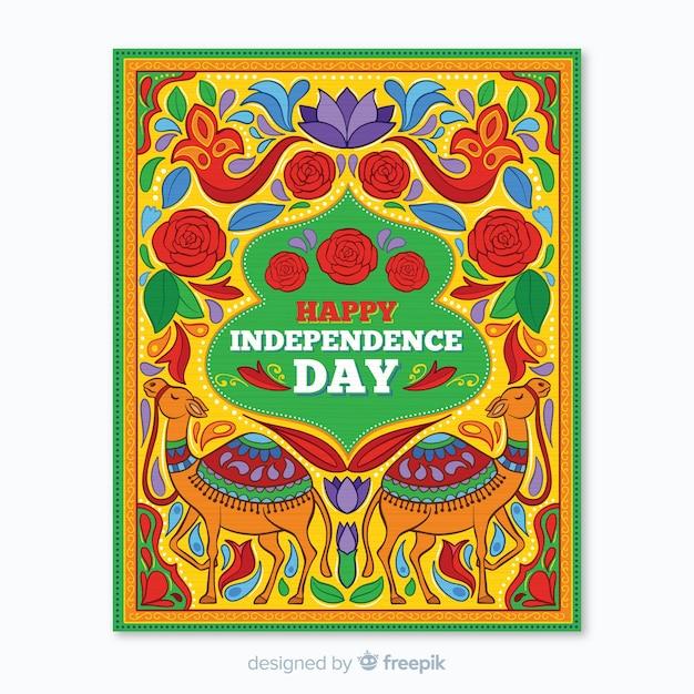 Modelo de cartaz do dia da independência indiana Vetor grátis