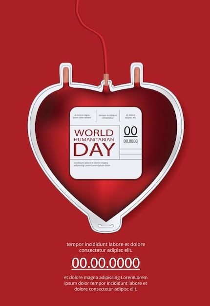 Modelo de cartaz do dia humanitário mundial Vetor Premium