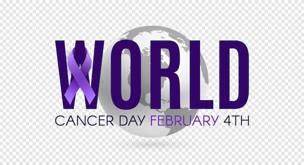 Modelo de cartaz do dia mundial do câncer com fita roxa e ícone de terra. ilustração vetorial Vetor Premium
