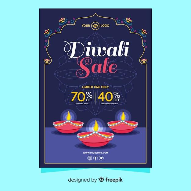 Modelo de cartaz do evento de venda de diwali Vetor grátis