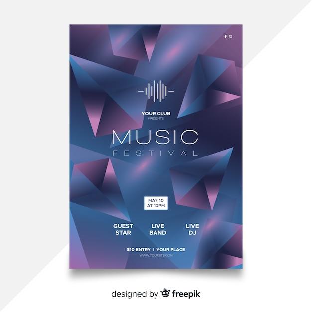 Modelo de cartaz do festival de música abstrata Vetor grátis