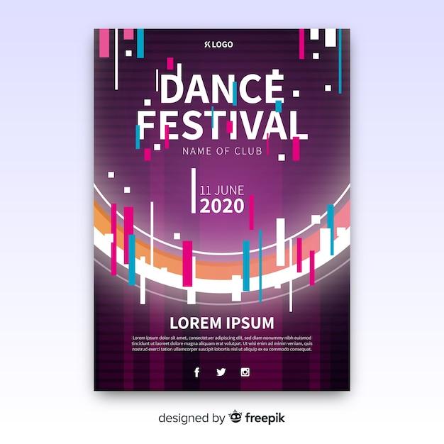 Modelo de cartaz do festival de música de falha Vetor grátis