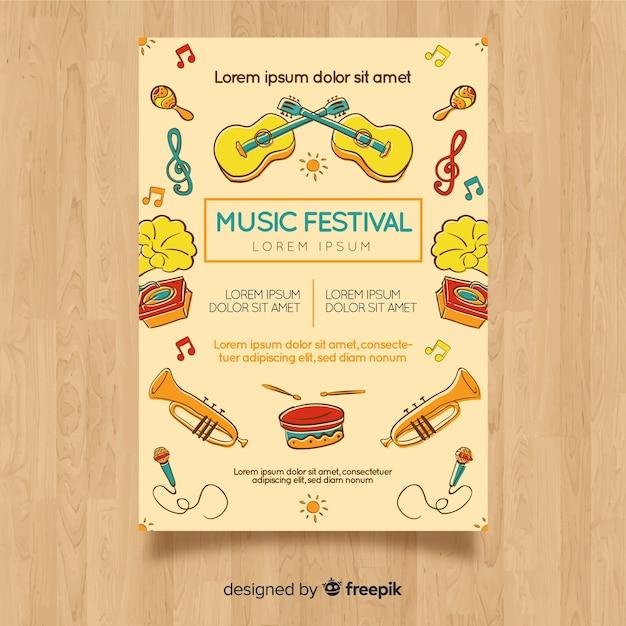 Modelo de cartaz do festival de música de mão desenhada Vetor grátis