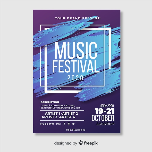 Modelo de cartaz do festival de música de pintura abstrata Vetor grátis