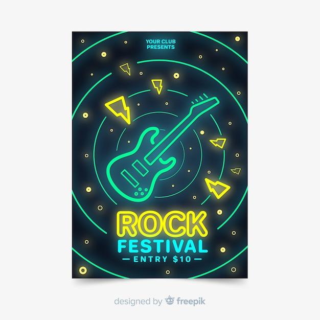 Modelo de cartaz do festival de música estilo de luzes de néon Vetor grátis