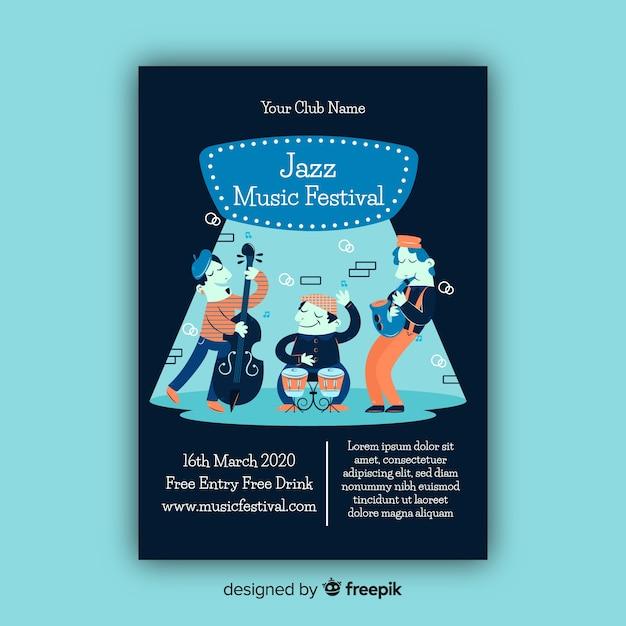 Modelo de cartaz do festival de música jazz Vetor grátis