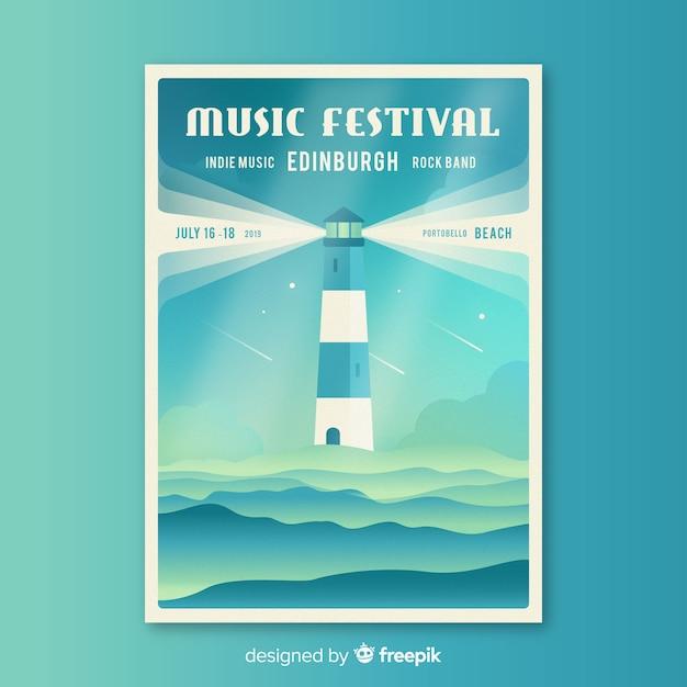 Modelo de cartaz do festival de música plana Vetor grátis