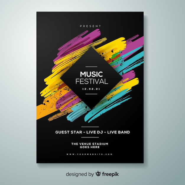 Modelo de cartaz do festival de música Vetor grátis