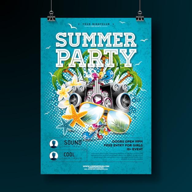 Modelo de cartaz do vetor verão festa design com flor e sol óculos Vetor Premium